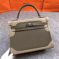 Hermes Limited Edition Grey & Etoupe Ghillie Kelly 35cm Swift Palladium Hardware