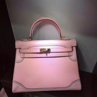 Hermes Limited Edition Rose Sakura 3Q Ghillie Kelly 32cm Togo Palladium Hardware