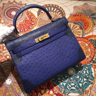 Hermes Limited Edition Iris & Navy Ghillie Kelly 35cm Ostrich Gold Hardware