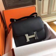 Hermes Black Constance 24 Epsom bag with Palladium Hardwares
