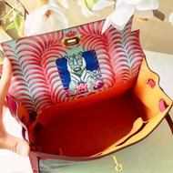 Hermes Special Edition Custom Painting Fuchsia Pink Kelly 32 cm Epsom Leather with Horse Hair Weave Gold Hardware