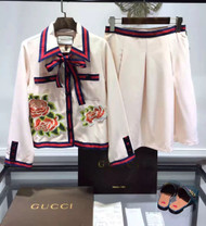 Gucci Runway Look 40- Silk cotton embroidered jacket & Silk cotton faille pleated skirt