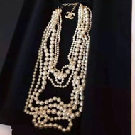 CHANEL Runway Edition Multi Strand  CC Pearl Camelia Long Necklace