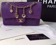 CHANEL Classic Flap Bag PYTHON Purple with charms
