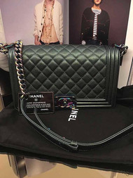 CHANEL Iridescent Green Chevre/Goatskin Large 28cm Boy Bag