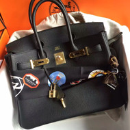 Hermes Black Birkin Bag 30cm Epsom Gold Hardware