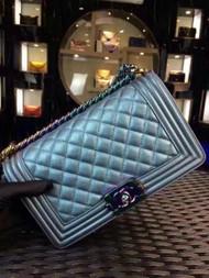 CHANEL Medium Blue Iridescent Rainbow Boy Flap Bag Cruise 2016 Seoul Collection A67085