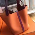 Hermes Orange/Red Picotin Lock MM Togo Leather Bag