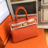 Hermes Orange Birkin Bag 30cm Epsom Gold Hardware