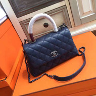 Chanel Blue Calfskin/Lizard Coco Handle Small Bag