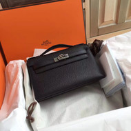 Hermès Black Mini Kelly Pochette Epsom leather Palladium hardware