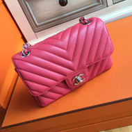 CHANEL Chevron Fuchsia Pink Flap Bag with silver hardware