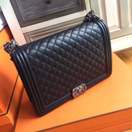 Chanel Black Quilted Caviar Large Boy Bag