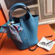 Hermes 75 Blue Jean Picotin Lock 18 Togo Leather Bag