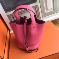 Hermes E5 Rose Tyrien Picotin Lock 18 Togo Leather Bag