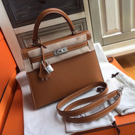 Hermes CK37 Brown Mini Kelly 25 Epsom Palladium Hardware