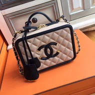 CHANEL CC FILIGREE VANITY CASE BAG Medium Black/Pink