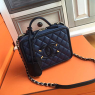CHANEL CC FILIGREE VANITY CASE BAG Medium Black/Blue