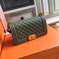 CHANEL  KhakiGreen Caviar Quilted Medium Boy Flap