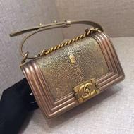 Chanel Metallic Gold Stingray Small  Boy Bag