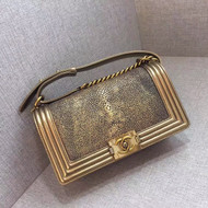 Chanel Metallic Gold Stingray Medium  Boy Bag