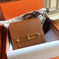 Hermes Gold Evercolor Calfskin Mini Roulis Bag