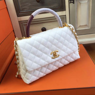 Chanel White Calfskin/Lizard Coco Handle Bag