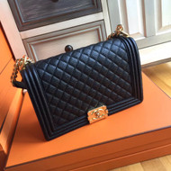 CHANEL Calfskin Black Large 28cm Boy Bag with Gold Hardware