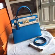 Hermes B3 Bleu Zanzibar Kelly 28 cm Epsom Palladium Hardware