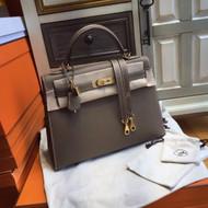 Hermès Etoupe grey Kelly 32 Epsom Gold Hardware
