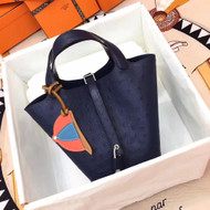 Hermes Navy Picotin Lock 18 Ostrich Leather Bag