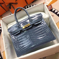 Hermes 75 Blue Jean Birkin 30 in Shiny Niloticus Crocodile with Palladium hardware