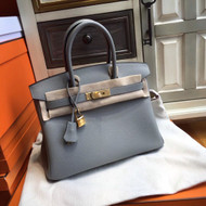 Hermès 4Z Gris Mouette Birkin 30 cm Togo Leather Gold Hardware