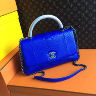 Chanel Electric Blue Python Lizard Top Handle Coco Handle Small Bag
