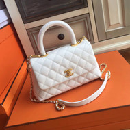 Chanel White Calfskin/Lizard Coco Handle Small Bag