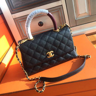 Chanel Black Calfskin/Lizard Coco Handle Small Bag
