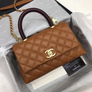 Chanel Tan Calfskin/Lizard Coco Handle Medium Bag