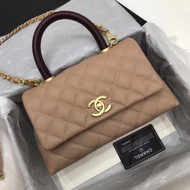 Chanel Caramel Calfskin/Lizard Coco Medium Handle Bag