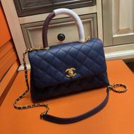 Chanel Blue Calfskin/Lizard Coco Handle Small Bag  2