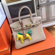 Hermes 3C Wool White Birkin Bag 30cm KK Ostrich Leather Gold Hardware