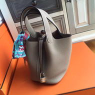 Hermes Etoupe  Picotin Lock MM Togo Leather Bag