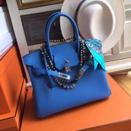 Hermes Bleu Paradis 2T Birkin 30 cm Epsom Palladium  Hardware