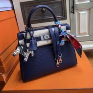 Hermes Blue Roy Birkin Bag 30cm KK Ostrich Leather Palladim Hardware