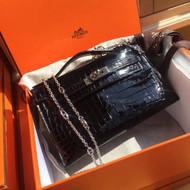 Hermes Black Mini Kelly Pochette Gator Shine with Palladium Hardware
