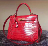 Hermes Red Kelly 32 in Porosus Crocodile with Gold hardware