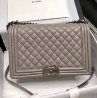 CHANEL Gray Large 28cm Boy Bag with Gold Hardware