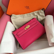 Hermès E5 Rose Tyrien Epsom Leather Mini Kelly Pochette Gold Hardware