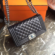 CHANEL Quilted Boy Flap Bag Lambskin with Silver Hardware