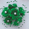 "1.5"" Emerald Silk Flowers with Pearl - Pack of 72"