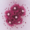 """1.5"""" Fuchsia Organza Silk Flowers with Pearl - Pack of 72"""